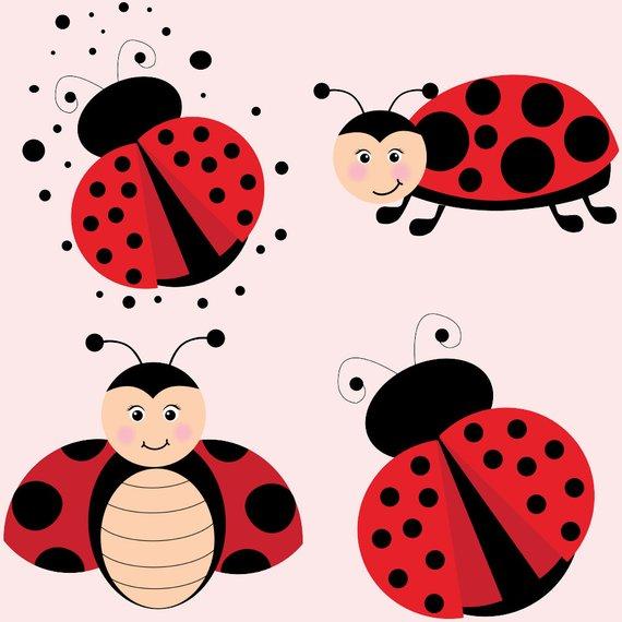 Ladybugs clipart banner. Ladybug cute set red