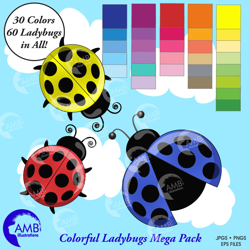 Ladybug multi insects scrapbook. Ladybugs clipart colored