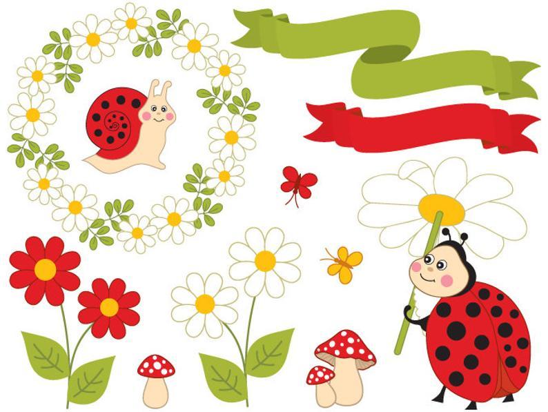 Ladybugs clipart daisy. Summer ladybug digital vector