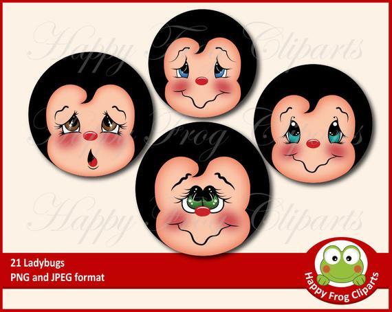 Ladybugs clipart face. Faces set hfc instant