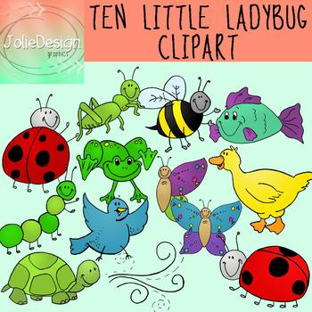 Ten color and black. Ladybugs clipart little bug