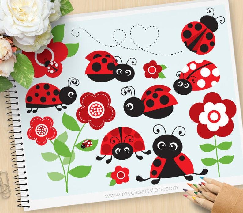 Ladybugs clipart red ladybug. Garden ladybirds flowers spring