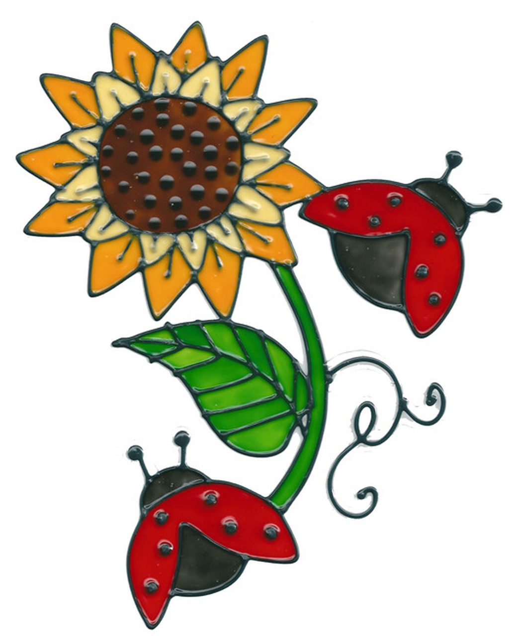 Ladybugs clipart sunflower. Window cling