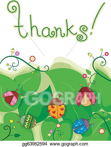 Eps illustration card vector. Ladybugs clipart thank you
