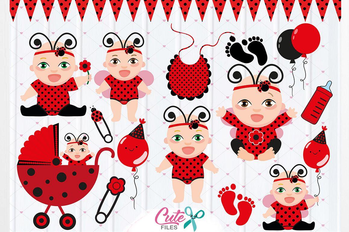 Ladybugs clipart vector. Baby ladybug party girls