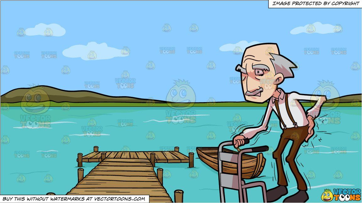 Cartoon a grandpa having. Lake clipart animated