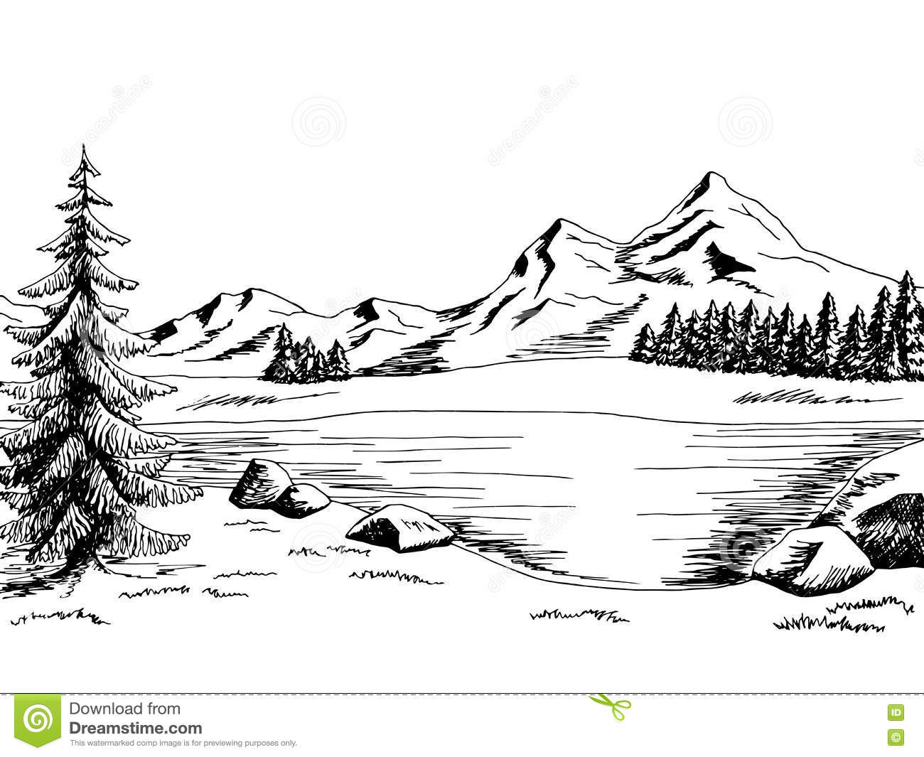 Lake clipart black and white. Station