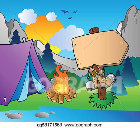 Lake clipart camp lake. Clip art vector camping