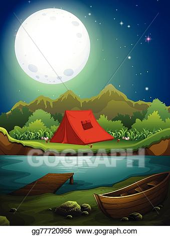 Vector stock ground illustration. Lake clipart camping