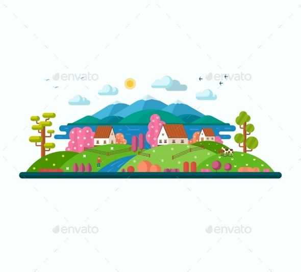Lake clipart country landscape. Eco spring and summer