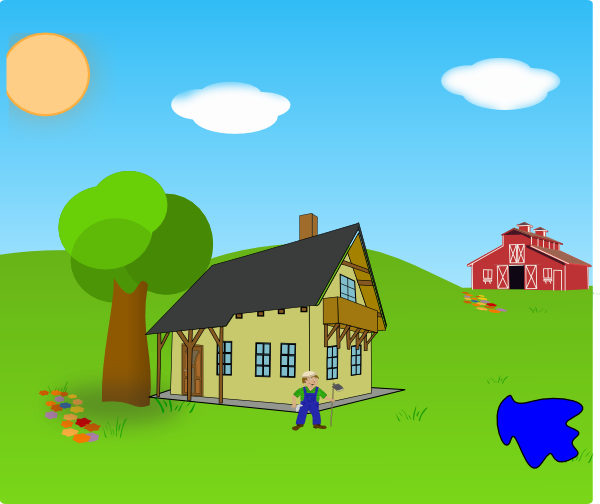 Farm background with clip. Lake clipart country landscape