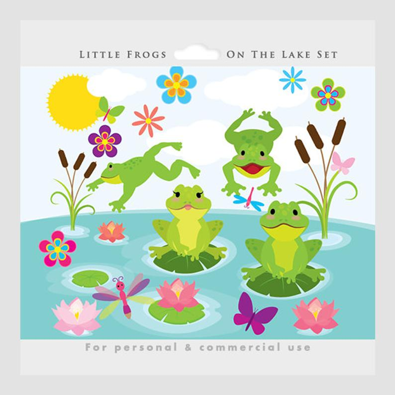Lake clipart cute. Frogs clip art whimsical