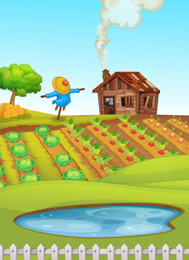 Lake clipart farm pond. Scene with in foreground