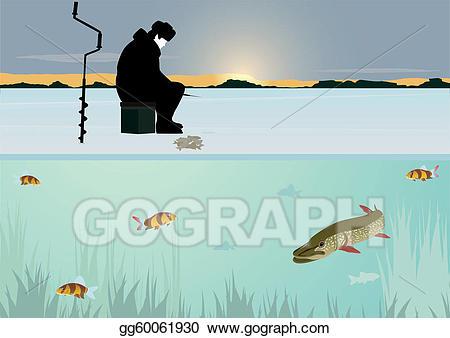 Vector stock winter on. Lake clipart fishing lake