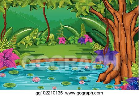 Lake clipart forest. Vector art scene with