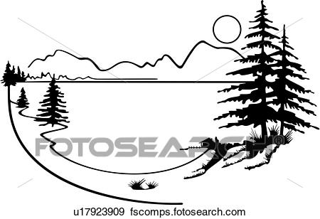 Black and white free. Lake clipart forest