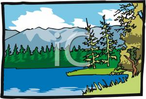 A in the middle. Lake clipart forest