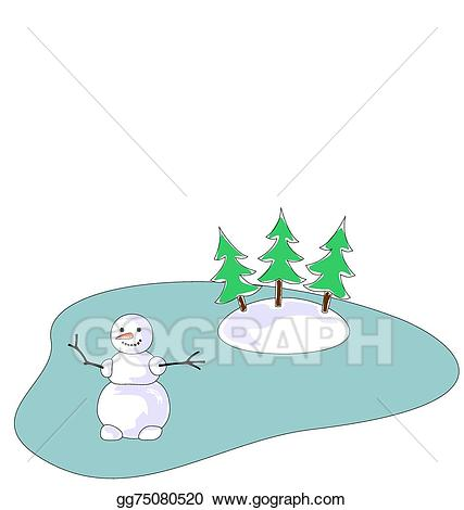 Lake clipart frozen lake. Vector art snowman on