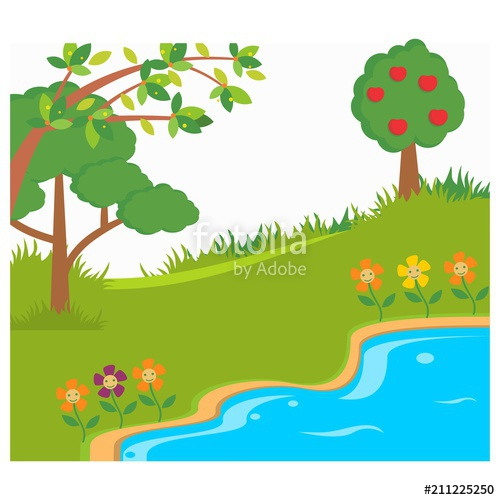 Lake clipart jungle. River green forest panorama