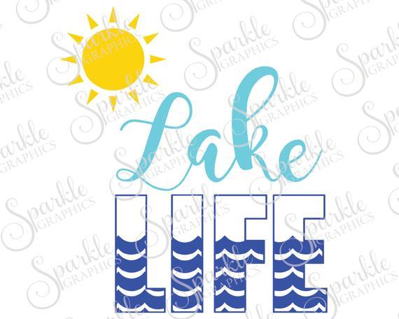Life cut file summer. Lake clipart lake beach