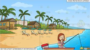 Lake clipart lake beach. A woman enjoys her