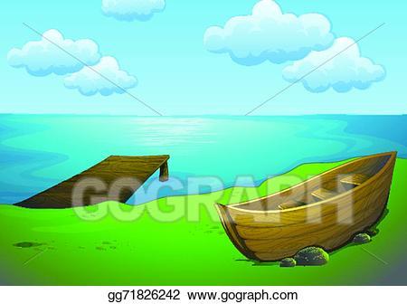 Vector art and drawing. Lake clipart lake boat