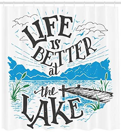 Lake clipart lake cabin. Ambesonne decor shower curtain