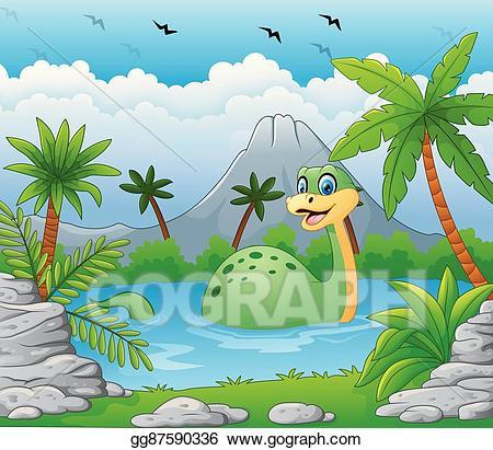 Eps illustration dinosaur having. Lake clipart lake fun