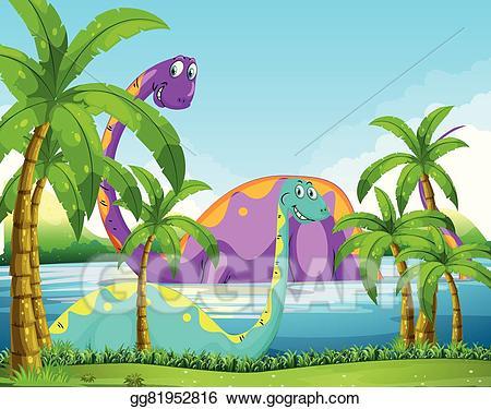 Lake clipart lake fun. Eps illustration dinosaur having