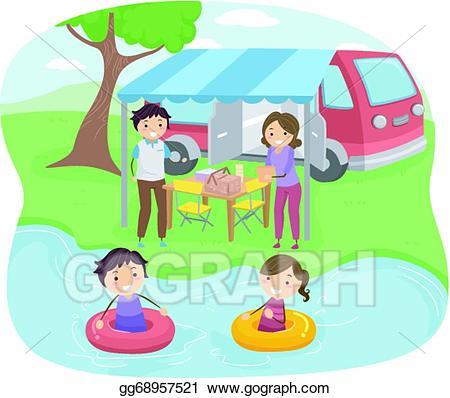 Vector art family drawing. Lake clipart lake picnic