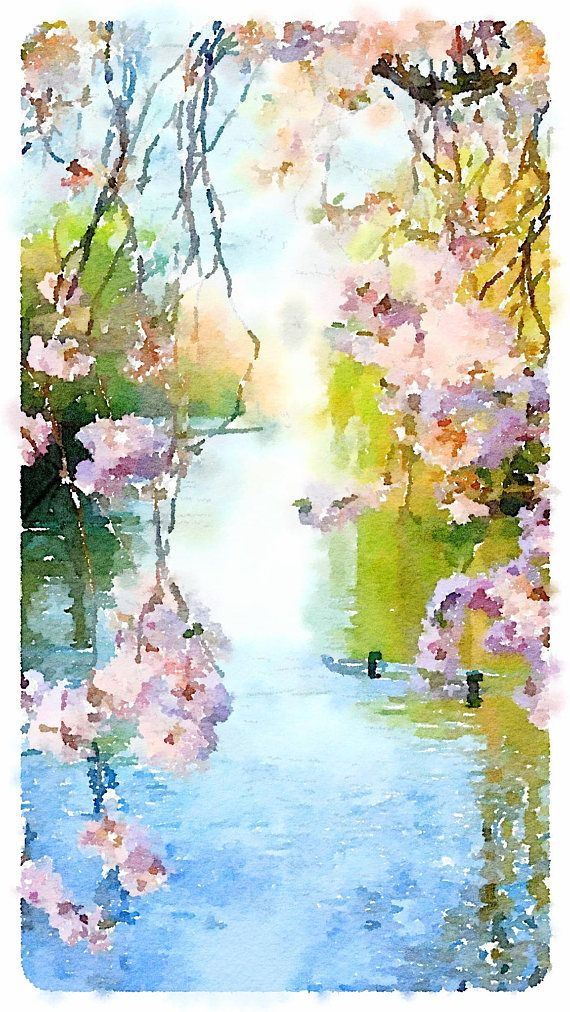 Lake clipart landscape painting. Pink blooms by the