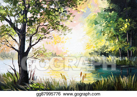 Clip art oil in. Lake clipart landscape painting