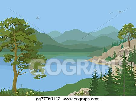 Lake clipart lanscape. Stock illustration landscape with