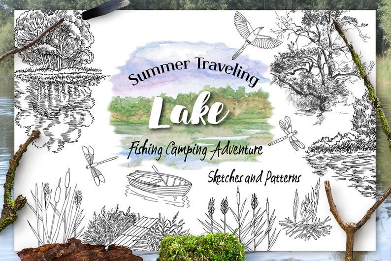 Lake clipart lanscape. Fishing watercolor sketches landscape