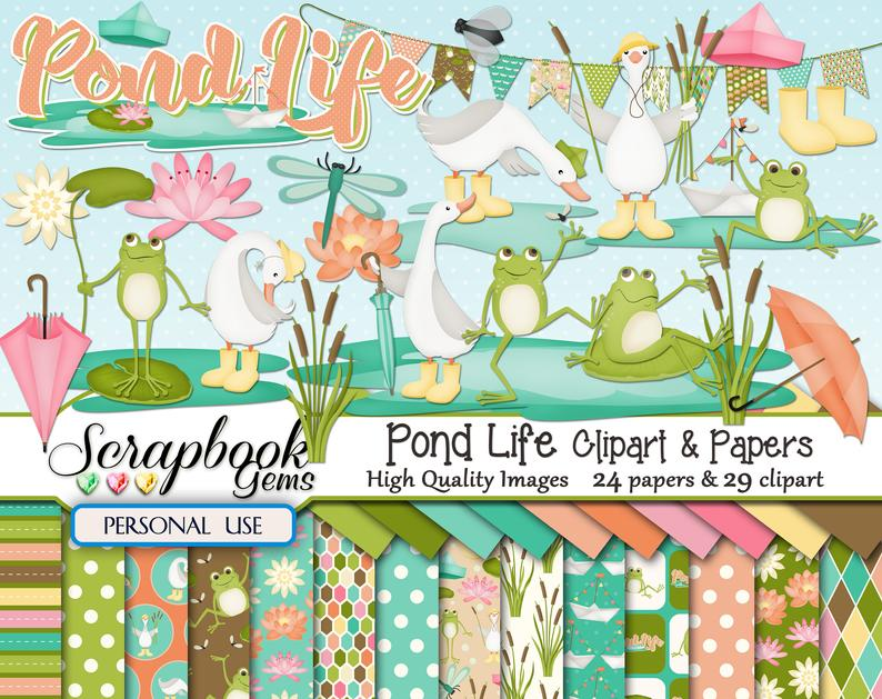 Lake clipart pond life. Papers kit png files