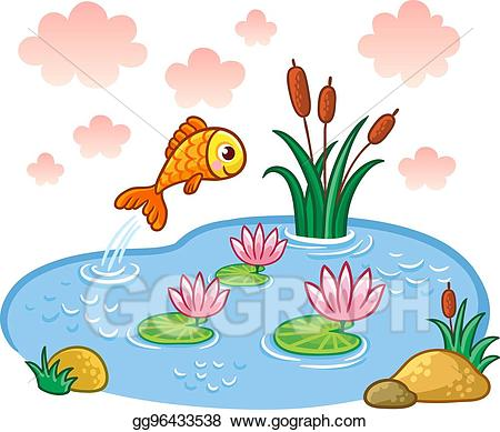 Eps vector the fish. Lake clipart pond reed