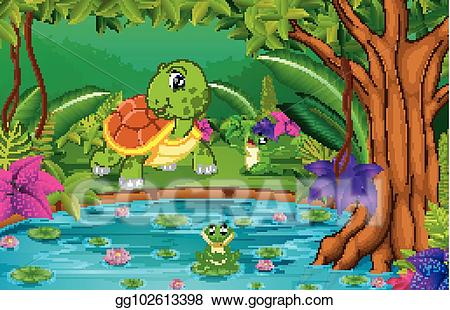 Vector illustration turtle and. Lake clipart rainforest