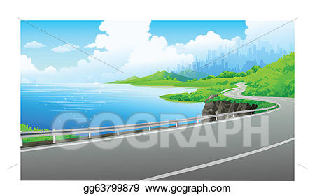 Lake clipart river bank. Vector illustration road on