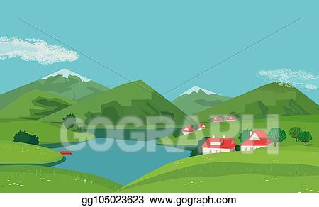 Lake clipart river valley. Eps vector mountain landscape