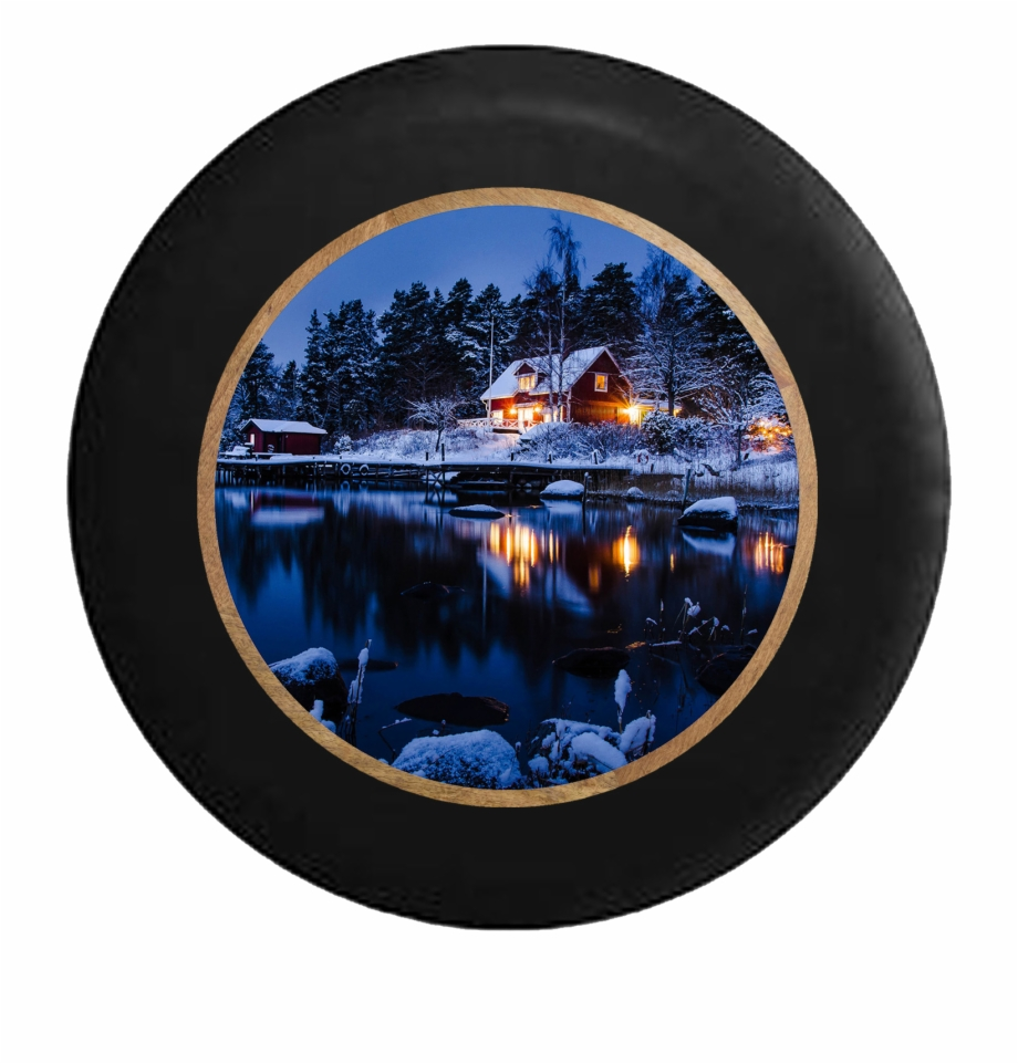Cottage in the evening. Lake clipart snowy scenery