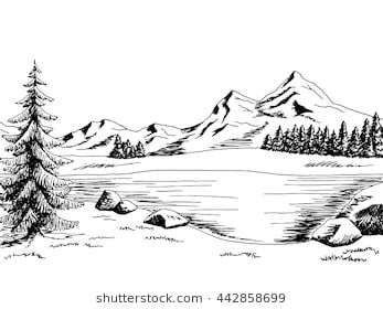 Lake clipart snowy scenery. Mountain graphic art black