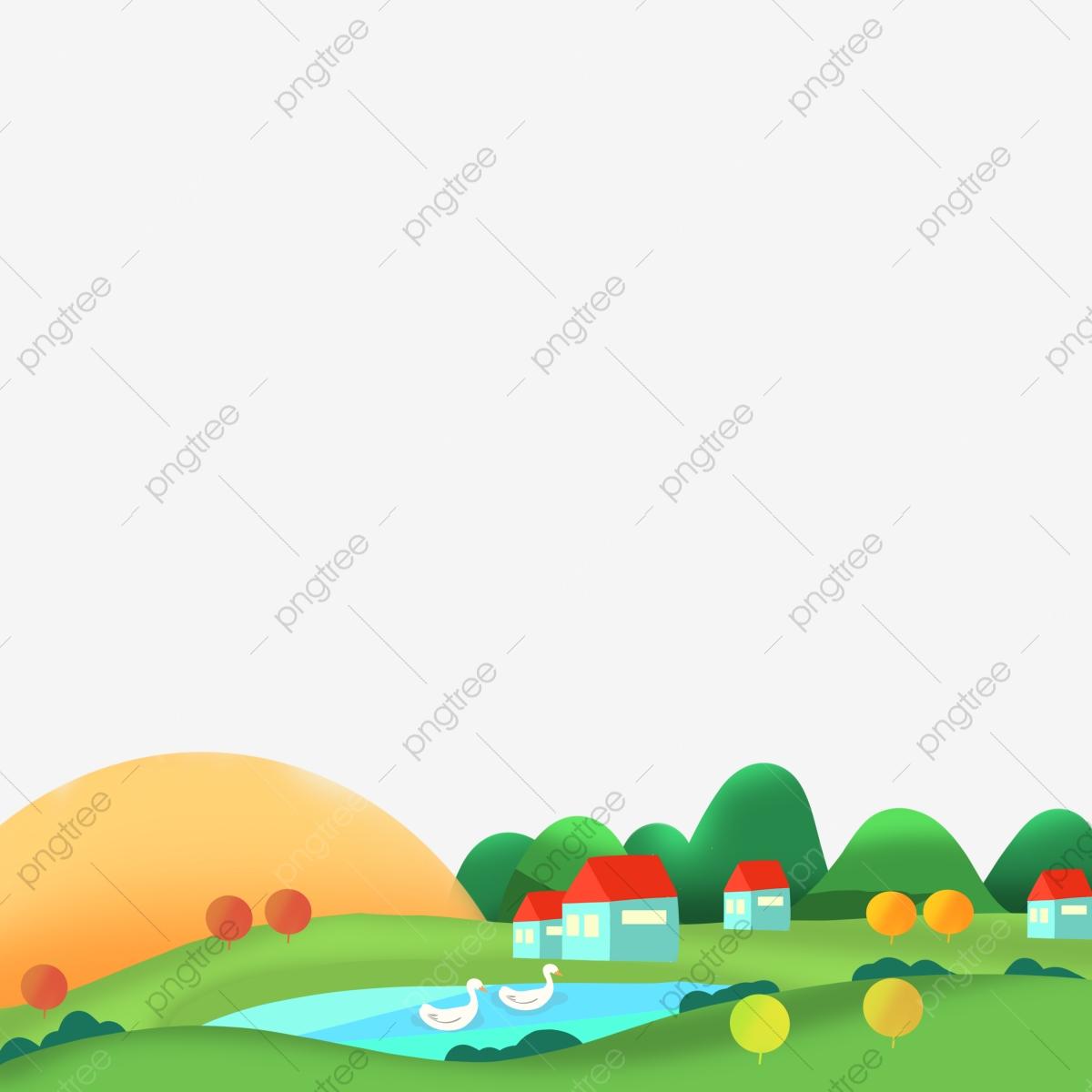 Village landscape green poster. Lake clipart spring pond