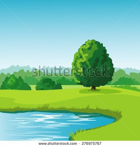 Lake clipart summer lake. Landscape with background