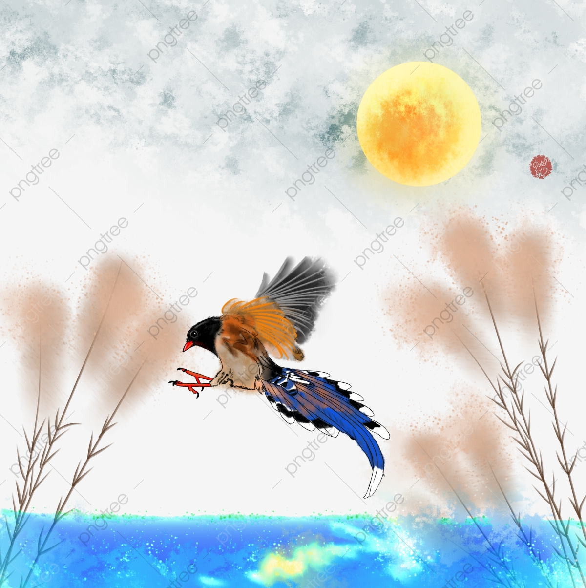 Chinese style watercolor light. Lake clipart sunny