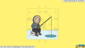 Lake clipart sunny. A man ice fishing