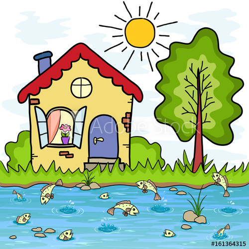 The cartoon country house. Lake clipart vacation home