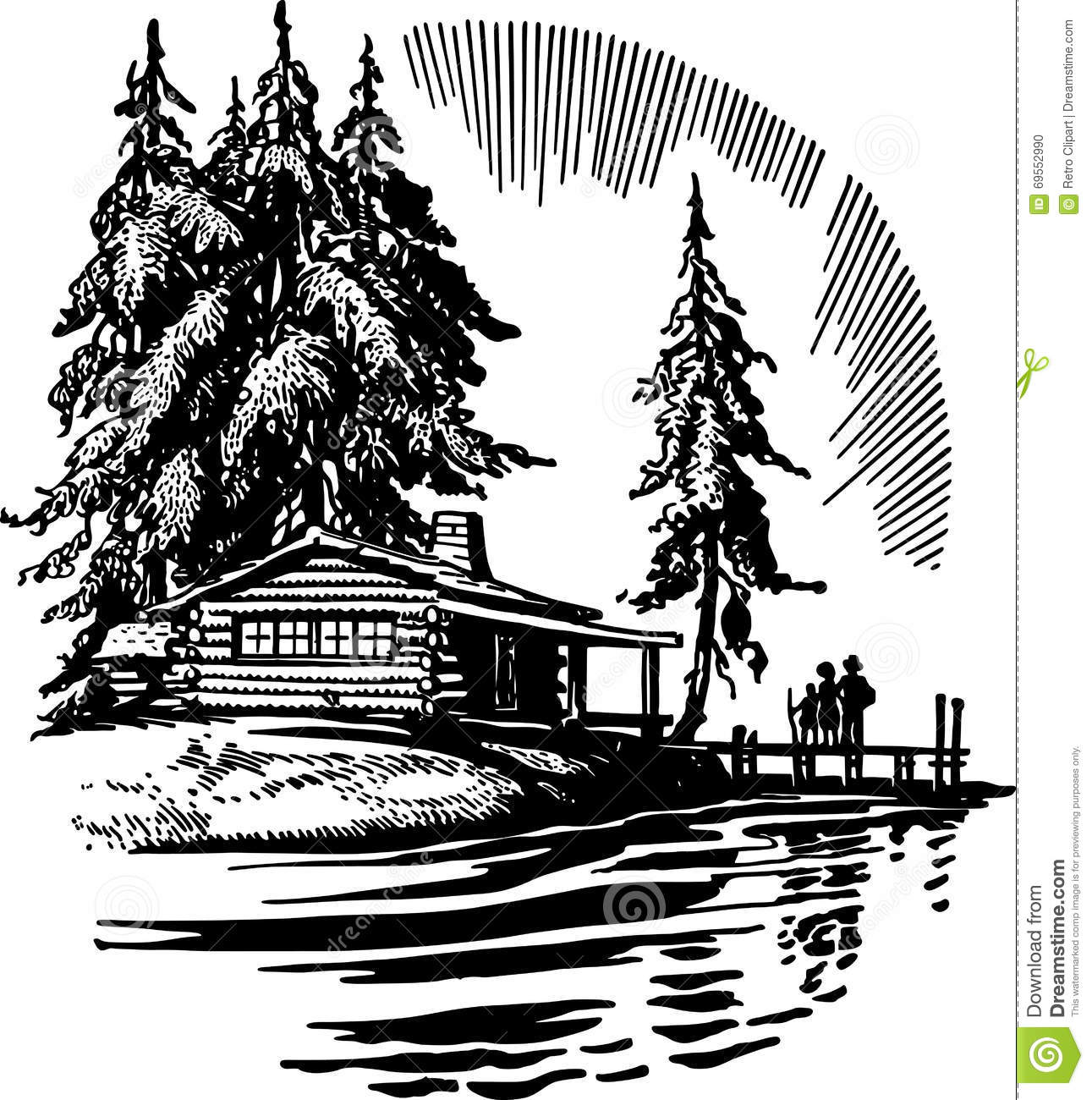 Cabin station . Lake clipart vacation home