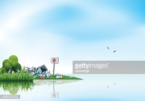 Trash in the nature. Lake clipart water source