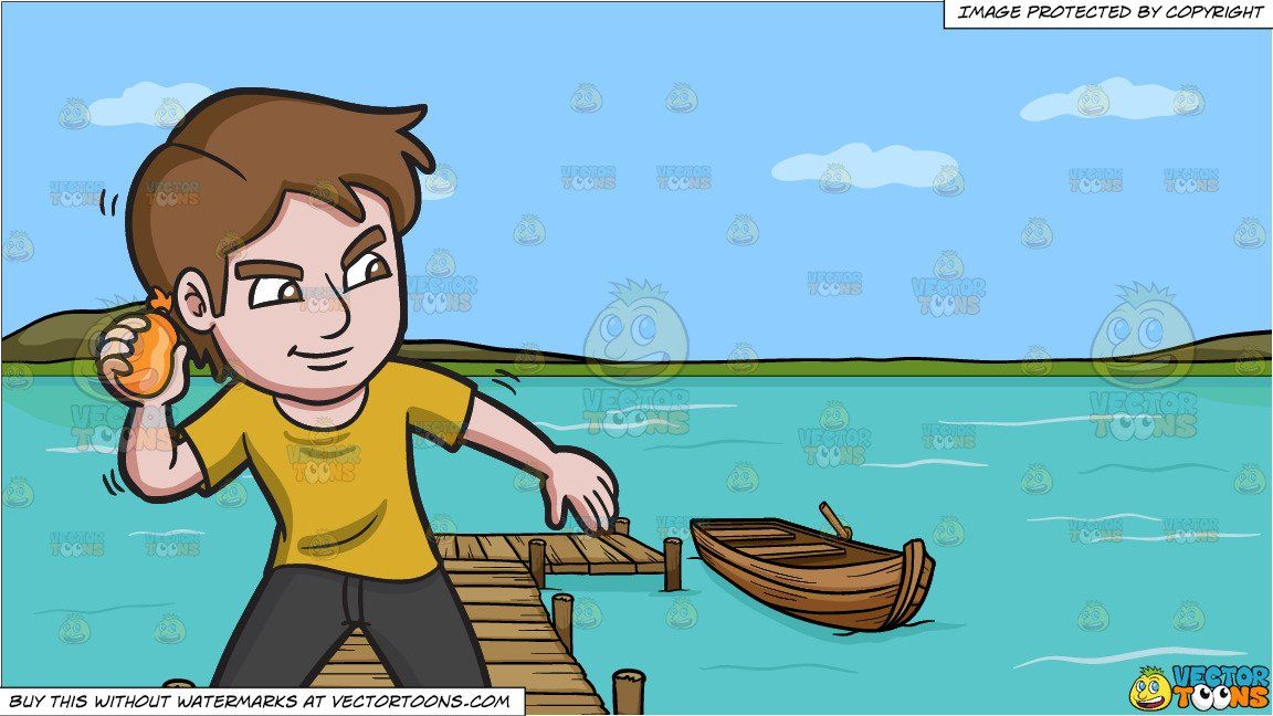 Cartoon a clever man. Lake clipart water source