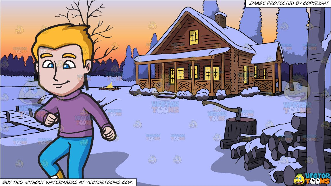 A guy carefully glides. Lake clipart winter